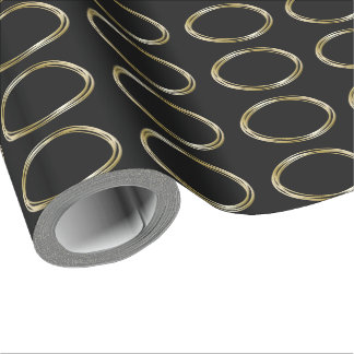 Zen Golden Circle   The Minimalist Black Gold LOGO Wrapping Paper