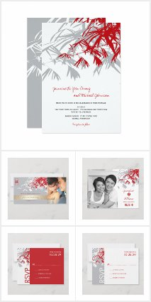 ZEN GREY & RED BAMBOO LEAVES | ASIAN WEDDING