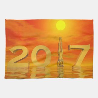 Zen happy new year 2017 - 3D render Kitchen Towel