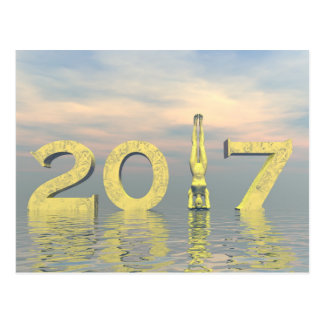 Zen happy new year 2017 - 3D render Postcard