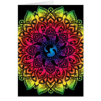 Zen Henna Mandala Hippy Cat Blank Card
