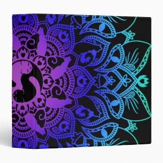 Zen Henna Mandala Hippy Cat Vinyl Binders