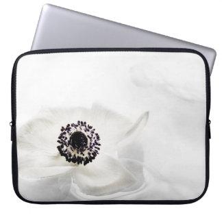 Zen High Key White Ranunculus on Water Background Laptop Sleeve