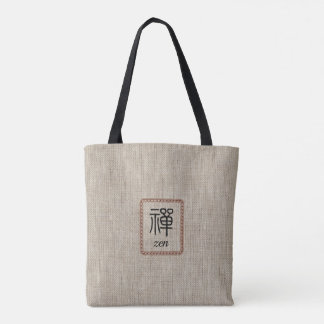Zen in leather frame on burlap print tote bag