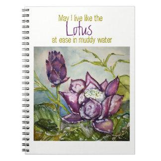 Zen Inspiration Lotus Watercolor Spiral Notebook