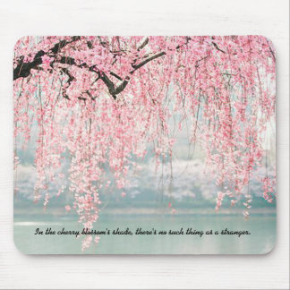 Zen Inspired Sakura Tree Photo with Quote Mousepad
