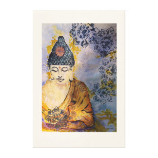 Zen Meditate Buddha Watercolor Print Canvas 36x24