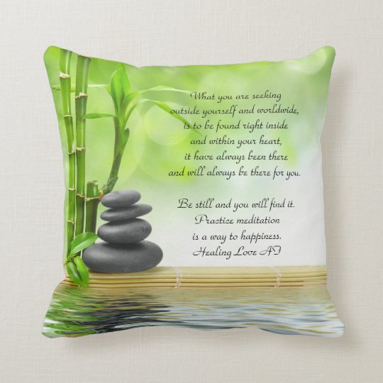 Zen, meditation poem by Anita Fugoso healing love Throw Pillow