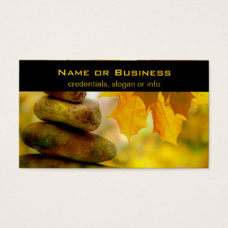Zen meditation stones and Maple Leaves Business Card