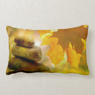 Zen meditation stones and Maple Leaves Lumbar Pillow