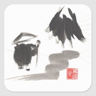 Zen Monk and Mountain of Enlightenment Sticker