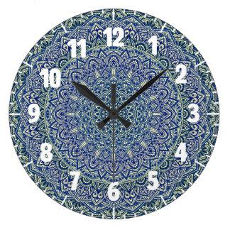 Zen Navy and yellow Mandala Large Clock