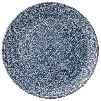 Zen Navy and yellow Mandala Plate