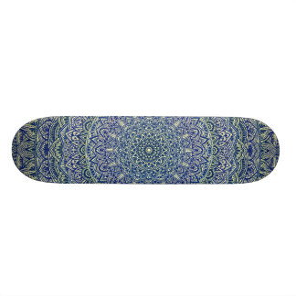 Zen Navy and yellow Mandala Skate Board