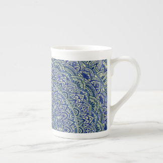 Zen Navy and yellow Mandala Tea Cup