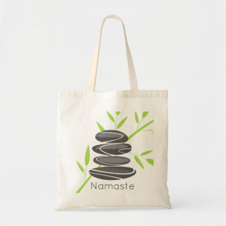 Zen pebble stone stacking yoga meditation tote bag