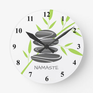 Zen pebble stones stack yoga meditation wall clock