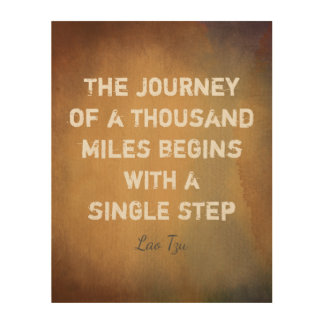 zen quote the journey on wood panel watercolor art