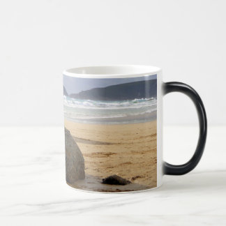 Zen Rocks and Driftwood on Deserted Beach Magic Mug