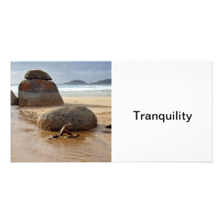 Zen Stacked Boulders on Beach Customized Photo Card
