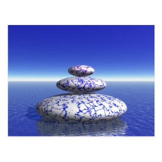 Zen Stone Blue Purple Ocean Love Peace Inspiration Postcard