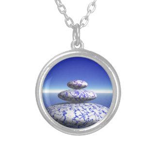 Zen Stone Blue Purple Ocean Love Peace Inspiration Round Pendant Necklace