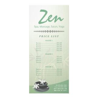 ZEN Stone YOGA SPA Massage Beauty Salon Price List Rack Card