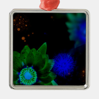 Zen Strength Lotus Flower Silver-Colored Square Ornament