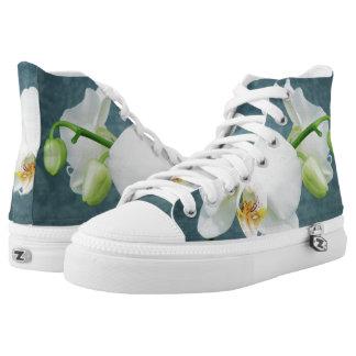 Zen White Orchid Design High Tops