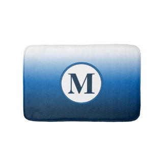 Zen White to Deep Blue Ombre Gradient Monogram Bath Mat