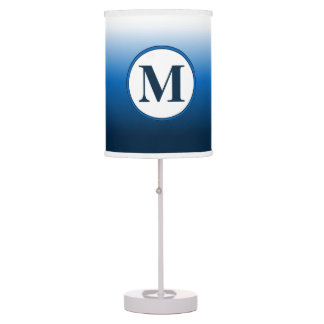Zen White to Deep Blue Ombre Monogram Table Lamp