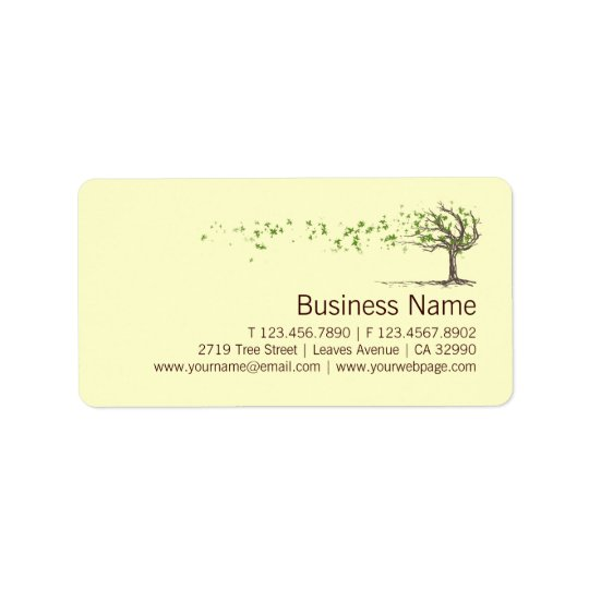 Zen Wind Tree With Leaves Business Labels Stickers