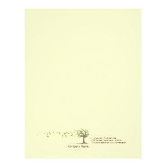 Zen Wind Tree With Leaves Yellow Letterhead