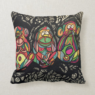 Zendoodle see/hear/speak no evil throw pillow