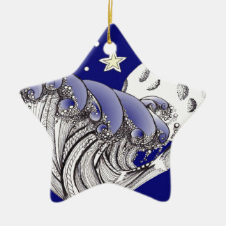 Zentangle Blue Waves and Full Moon Ornaments