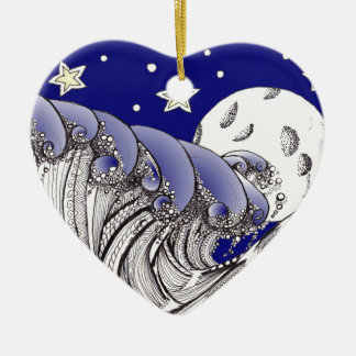 Zentangle Blue Waves and Full Moon Christmas Tree Ornaments