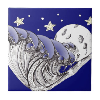 Zentangle Blue Waves and Full Moon Ceramic Tile