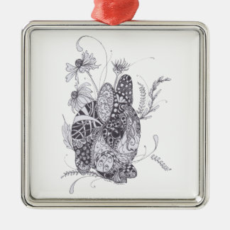 Zentangle Bunny Rabbit Ornament