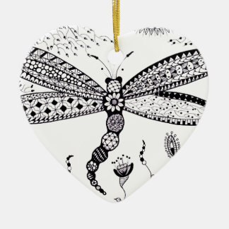 Zentangle Dragonfly Christmas Ornament