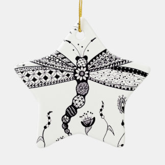 Zentangle Dragonfly Christmas Tree Ornaments