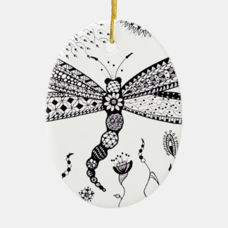 Zentangle Dragonfly Ornament