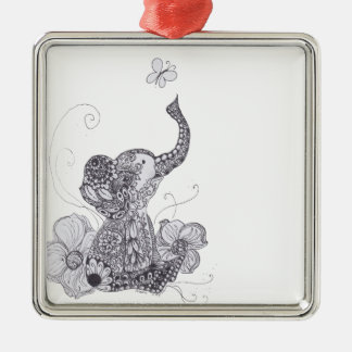 Zentangle Elephant Butterfly Christmas Ornament
