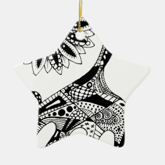 Zentangle giraffe christmas ornament
