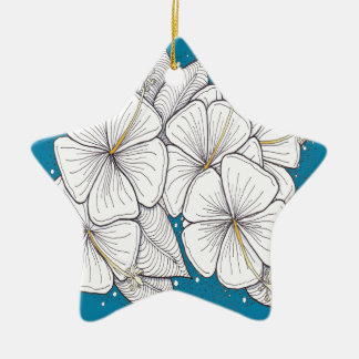 Zentangle Hibiscus with Paradise Blue Sky Ornaments