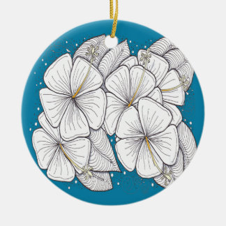 Zentangle Hibiscus with Paradise Blue Sky Christmas Ornaments