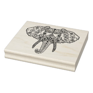 Zentangle Inspired Elephant 2 Rubber Stamp
