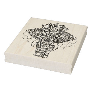Zentangle Inspired Elephant Rubber Stamp