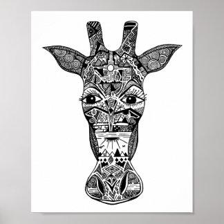 Zentangle® Inspired Giraffe Pen and Ink art Poster