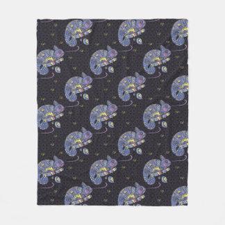Zentangle Lizard Fleece Blanket