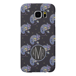 Zentangle Lizard | Monogram Samsung Galaxy S6 Cases